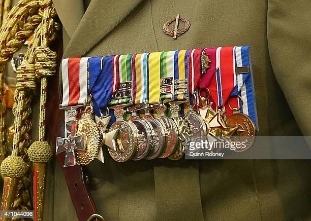 A close up of a soldier's medals during the round four AFL match between the Essendon Bombers and the Collingwood Magpies at Melbourne Cricket Ground...