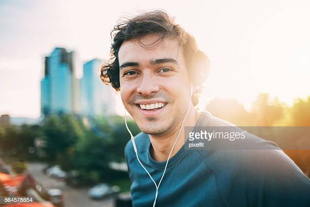 Close up of a sportsman with headphones