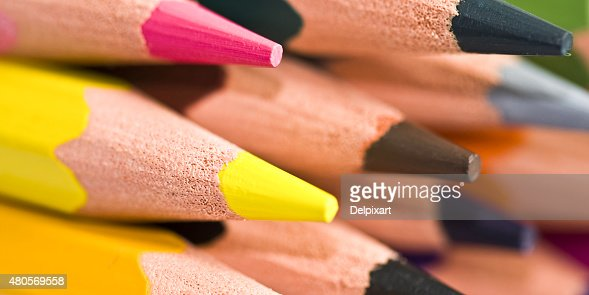 Close up of a stack of colorful wood pencils : Stock Photo