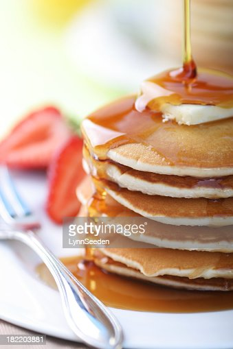 Close up of a stack of pancakes