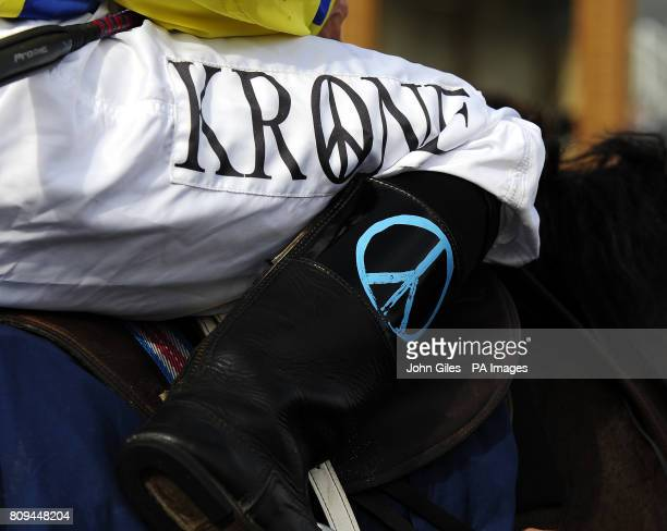 A close up of a symbol on Julie Krone's boot during the Welcome to Yorkshire St Ledger Festival Opening Day at Doncaster Racecourse Doncaster