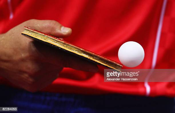 A close up of a table tennis bat and ball at the Peking University Gymnasium during Day 5 of the Beijing 2008 Olympic Games on August 13 2008 in...
