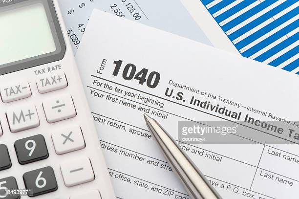 Close up of a Tax return form