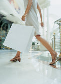 Close up of a the Legs of a Woman Walking Through a Shopping Mall Carrying a Shopping Bag