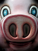 Close up of a toy pig face