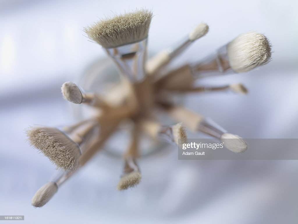 Close up of a variety of paintbrushes : Stock Photo
