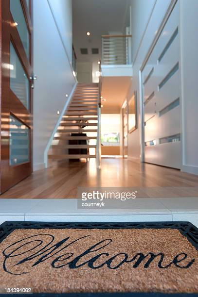 Close up of a welcome mat in inviting house