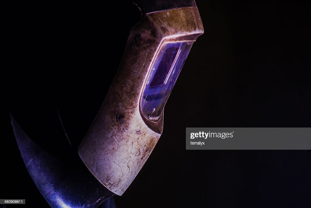 Close up of a welder helmet