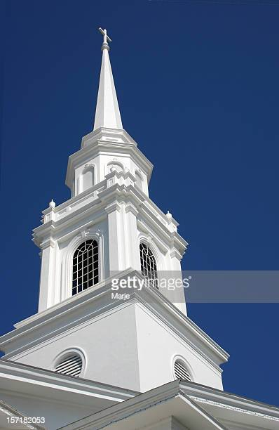 Close up of a white church steeple