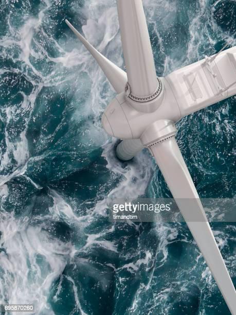 Close up of a wind turbine in the sea
