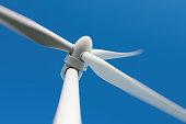 Close up of a wind turbine producing alternative energy