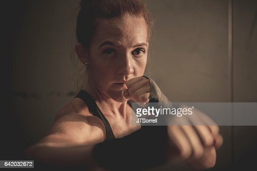 Close up of a Woman boxing