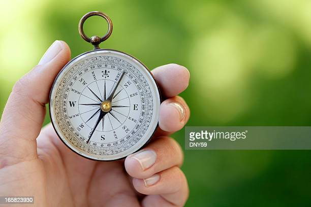 Close Up Of A Woman Holding A Compass