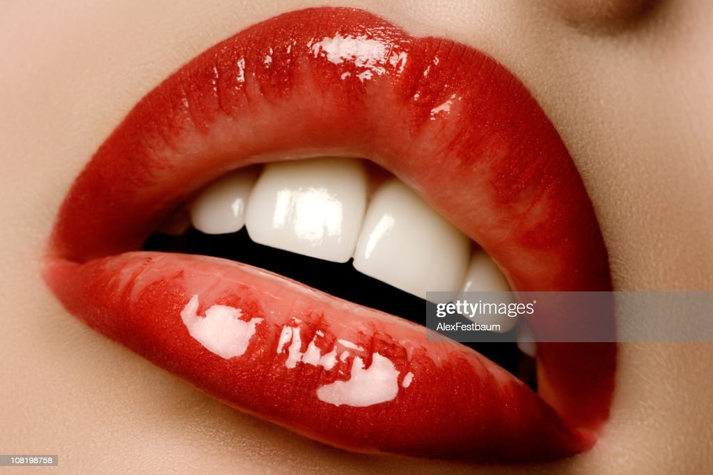 Glossy red lips : Stock Photo