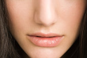 Close up of a womans nose and lips