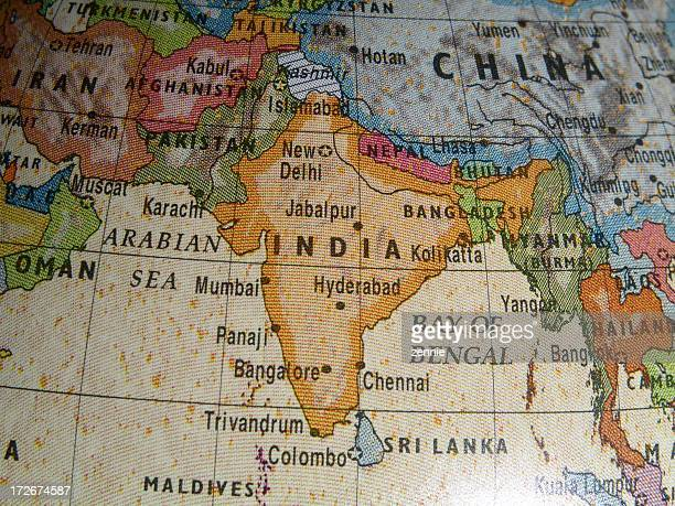 Close up of a world globe with India region in evidence