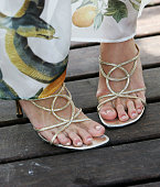 A close up of actress Paris Hilton's feet are seen as she attends the 'National Lampoon's Pledge This' photocall at the Carlton Pier during the 58th...