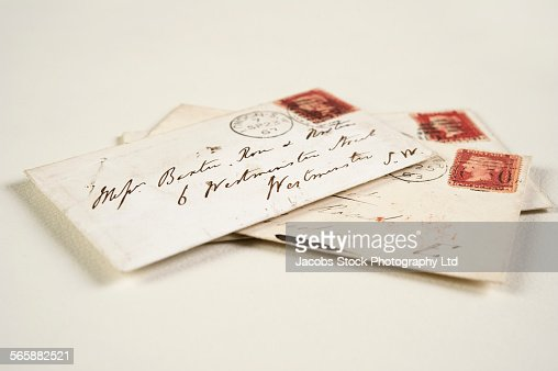 Close up of addressed vintage mail envelopes : Stock Photo