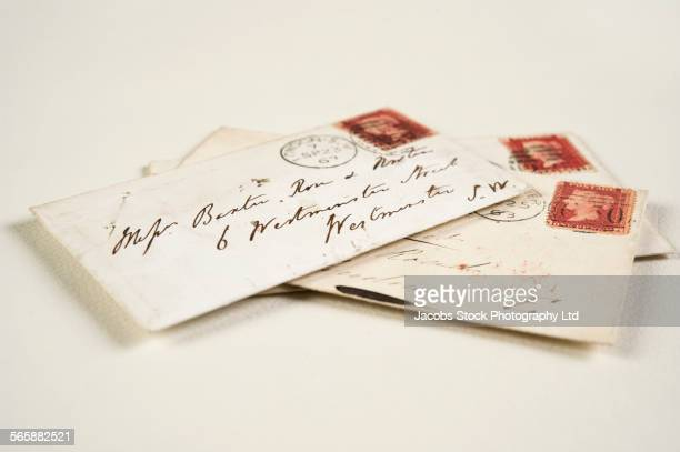 Close up of addressed vintage mail envelopes