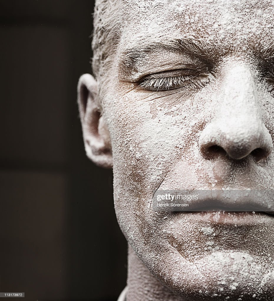 Close up of adult male face covered in dust : Stock Photo