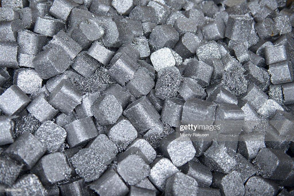 Close up of aluminium scrap in aluminium recycling plant : Stock Photo