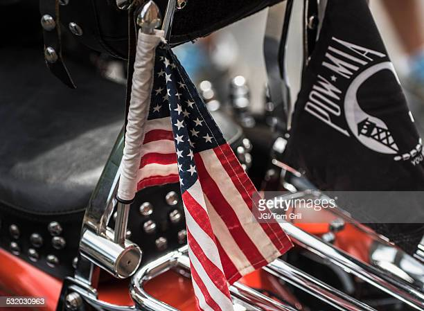 Close up of American flag on motorcycle