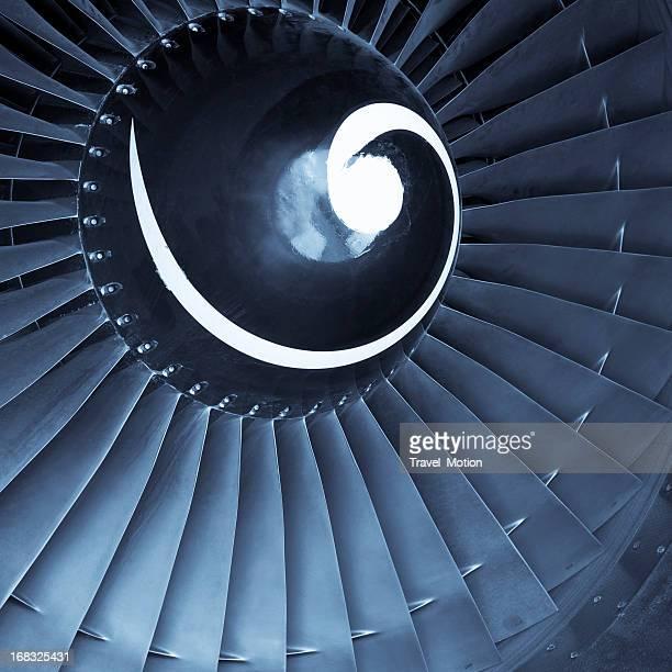 Close up of an aircraft jet engine turbine