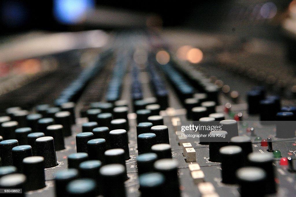 A Close up of an Audio Soundboard
