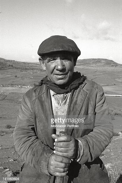 Close up of an old Sardinian shepherd on a grazing land on the Barbagia hills in the province of Nuoro March 1967