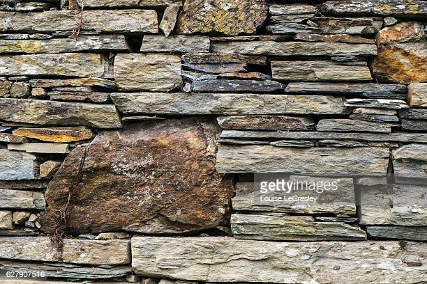 Close up of an old slate wall