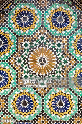 Close up of ancient tile mosaic