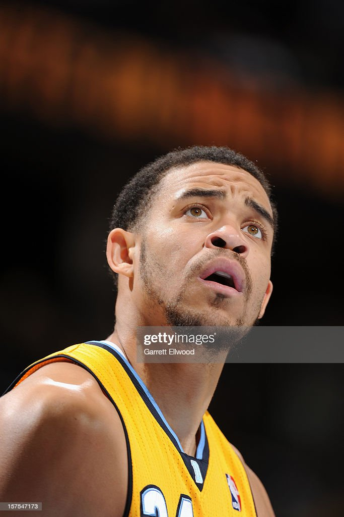 A close up of <a gi-track='captionPersonalityLinkClicked' href=/galleries/search?phrase=Andre+Miller&family=editorial&specificpeople=201678 ng-click='$event.stopPropagation()'>Andre Miller</a> #24 of the Denver Nuggets as he awaits a rebound from a foul shot against the Toronto Raptors on December 3, 2012 at the Pepsi Center in Denver, Colorado.
