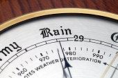 Close up of Aneroid Barometer at 'Rain'
