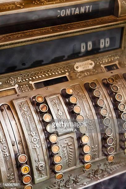 Close up of antique cash register