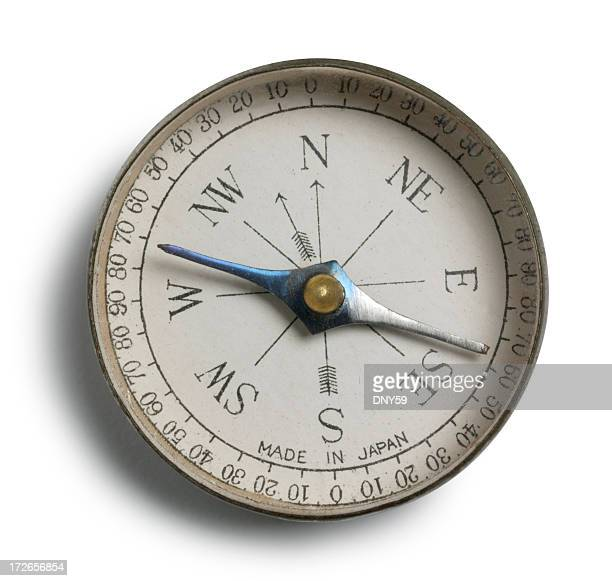 Close Up Of Antique Compass On White Background
