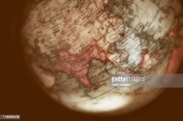 Close up of antique globe