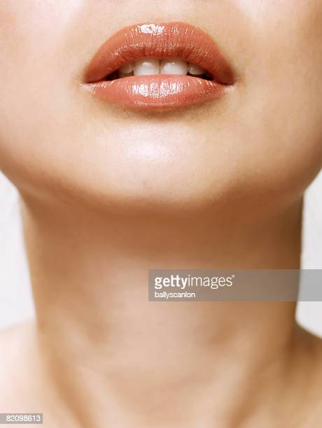 close up of asian woman lips