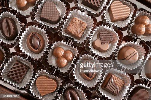 Close up of assorted chocolates