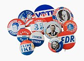 Close up of assorted presidential election pins