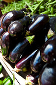 Close up of Aubergine at a market stall