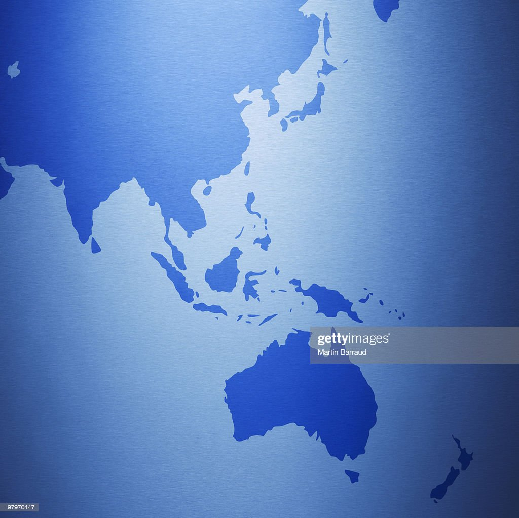 Close up of Australia and Southeast Asia on map