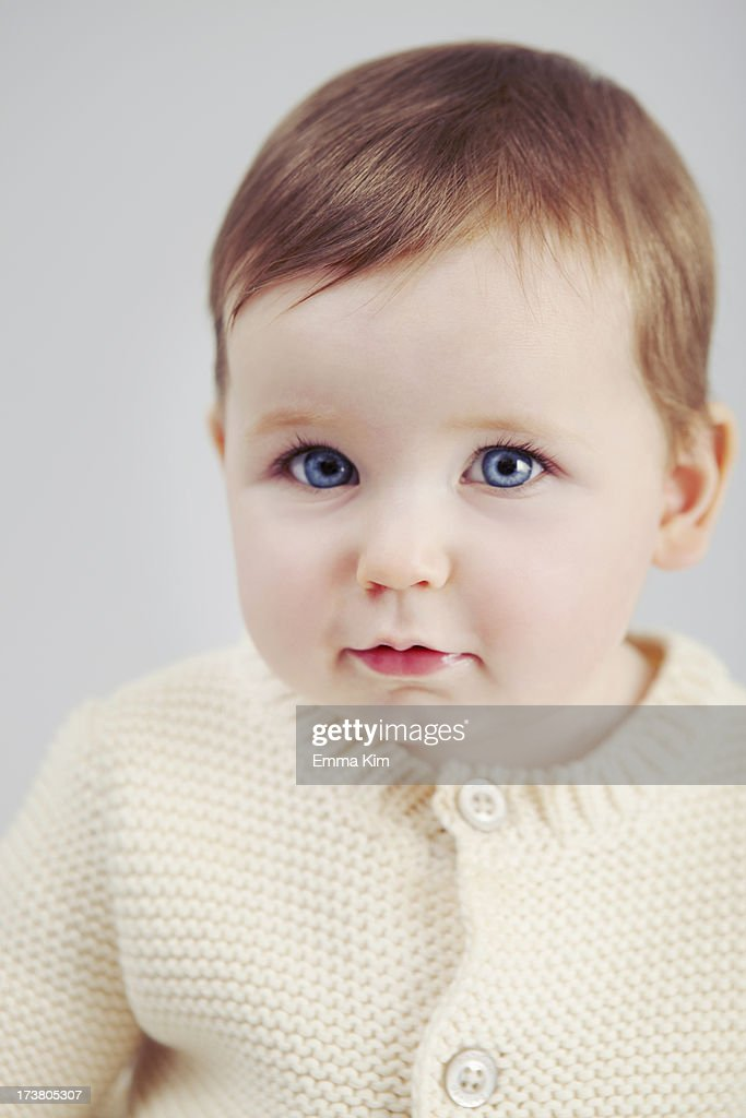 Close up of baby girls face : Stock Photo