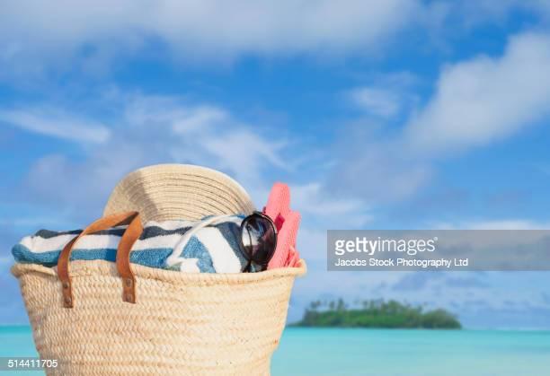 Close up of bag on beach
