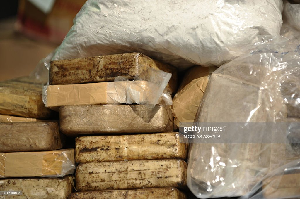 A close up of bags filled with heroin in Bang Pa In on June 26 2008 Thai authorities will burn more than 310 million dollars worth of drugs in an...