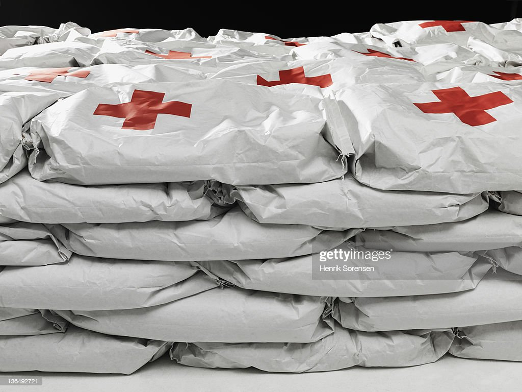 close up of bags with emergency Aid : Stock Photo