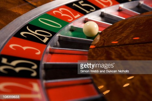 Close up of ball on roulette wheel : Stock Photo