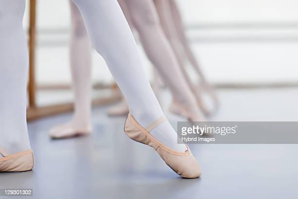 Close up of ballet dancersÍ feet