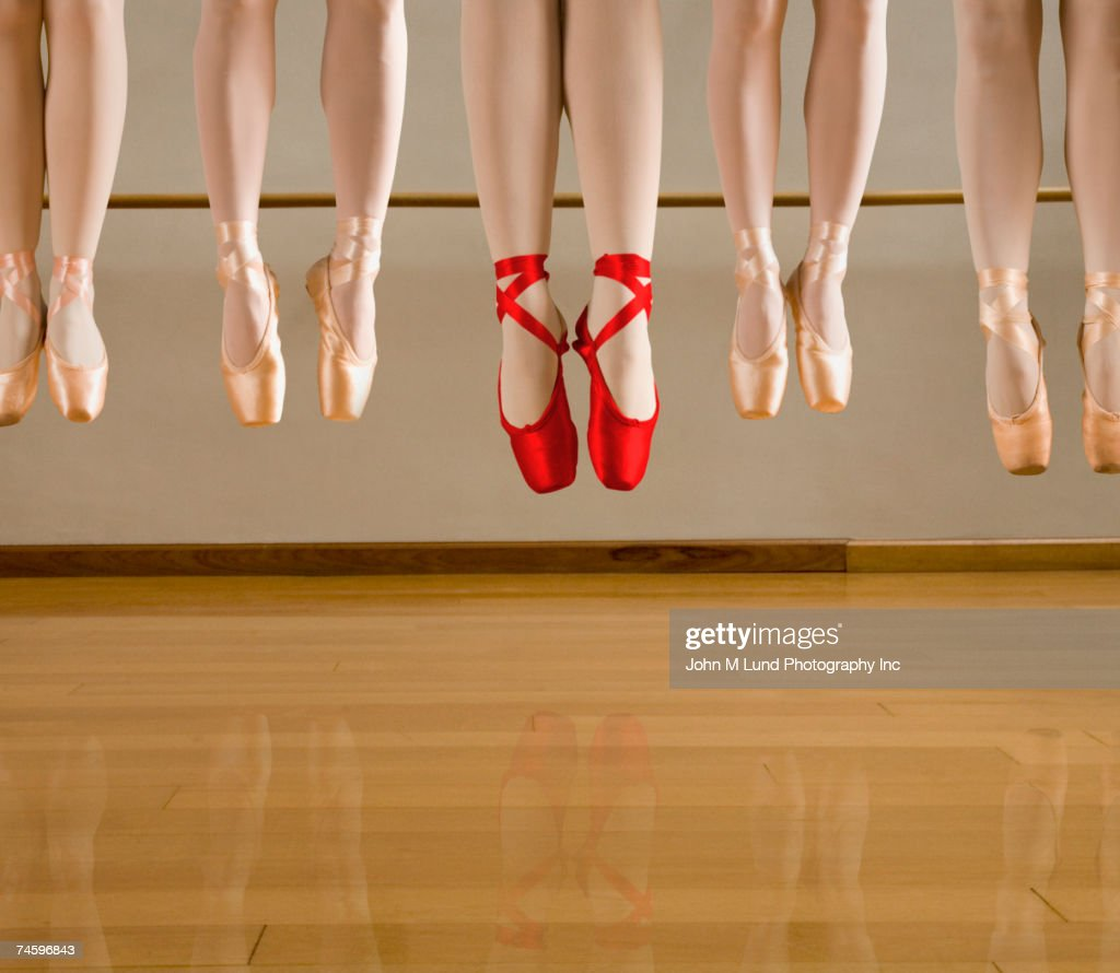 Close up of ballet dancers jumping : Stock Photo