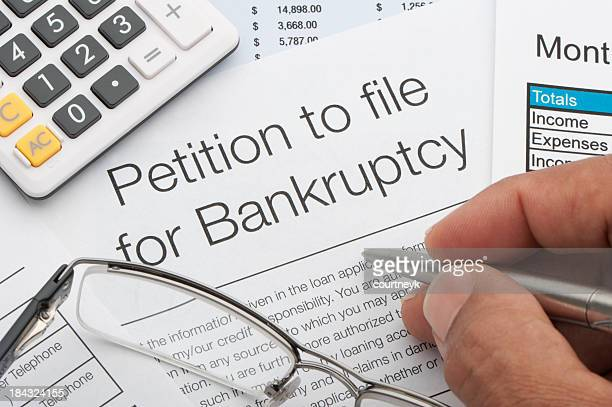 Close up of bankruptcy petition