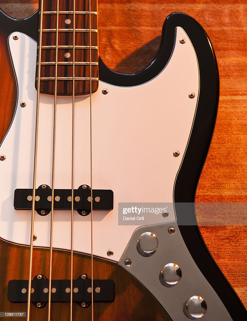 Close up of bass guitar